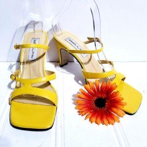 Bellini Square Toe Chunky Heel Yellow Sandals